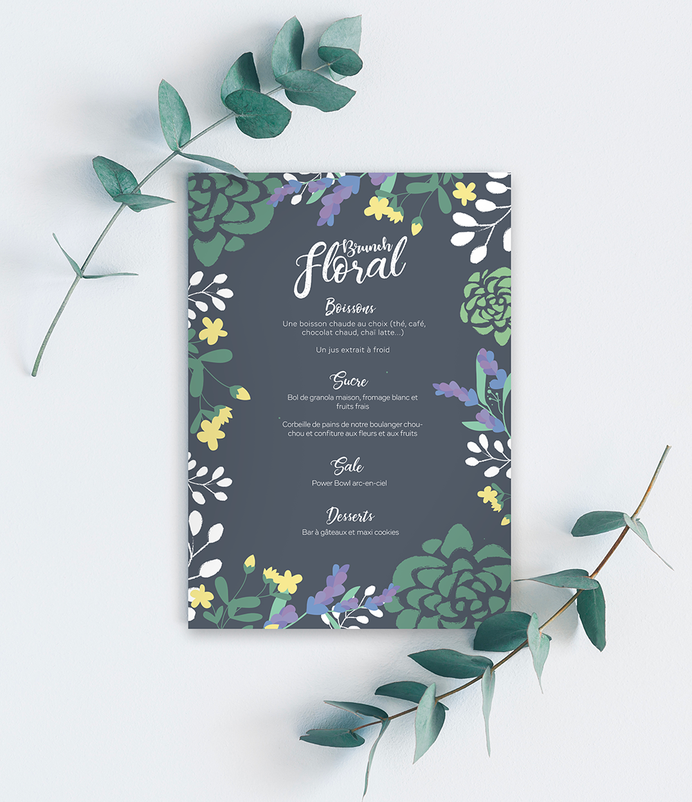 Menu Brunch Floral